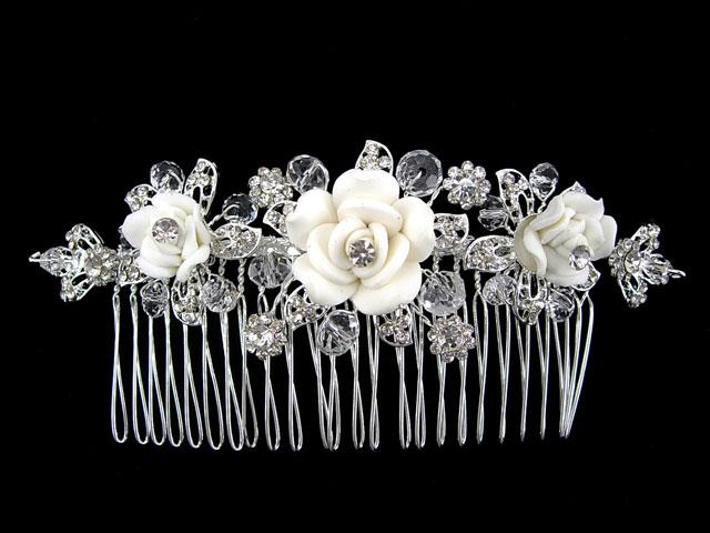 Wide White Flower Wedding Bridal Flower Girl Crystal Hair comb