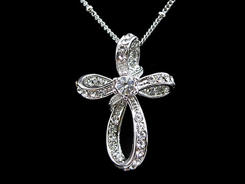 Elegant Little Cross USE SWAROVSKI Crystal 18K White Gold Plated