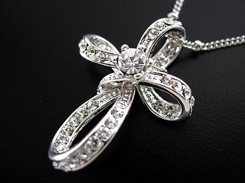 Elegant Little Cross USE SWAROVSKI Crystal 18K White Gold Plated
