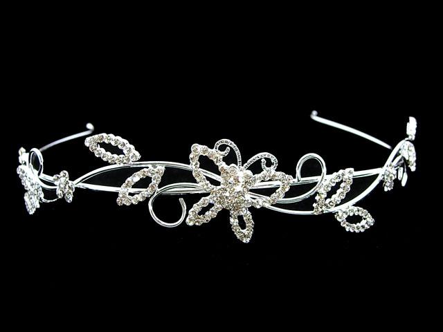 Wedding Butterfly Leaf Bridal Flower Girl Crystal Headband Tiara