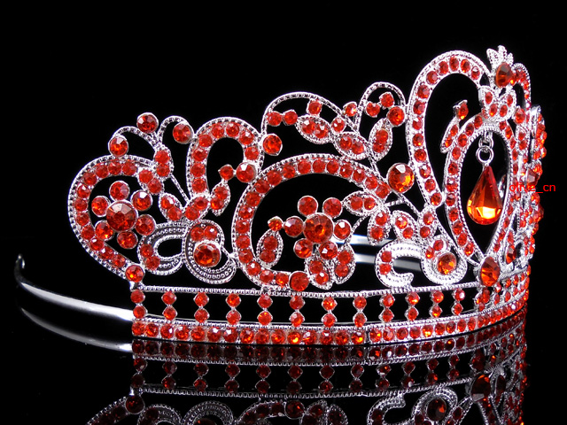 6 5cm High Heart Flower Leaf Full Crystal Tiara Crown