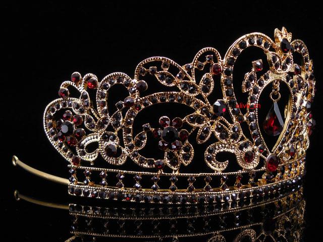 6.5cm Hoch Rot Herz Blume Hochzeit Braut Haarschmuck Krone Diademe Tiara