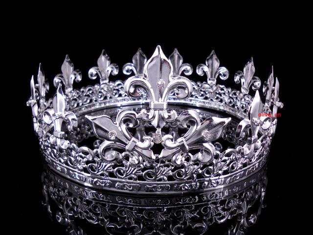 Men/'s Imperial Medieval Fleur De Lis Silver King Crown 7.5cm High 18cm Diameter