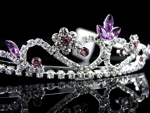 3cm High Wedding Prom Purple Crystal Bridal Flower Girl Tiara
