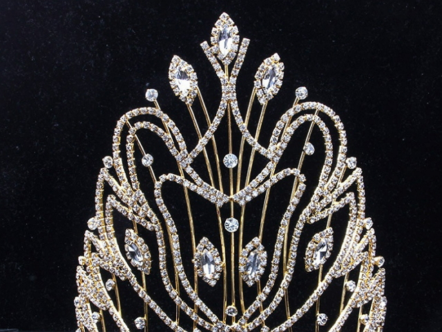 17cm High Crystal Huge Tiara Crown Wedding Bridal Party Pageant Prom Adjustable