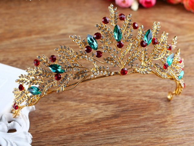 6cm High Large Multi-Color Crystal Leaf Tiara Wedding Party Pageant Prom Crown