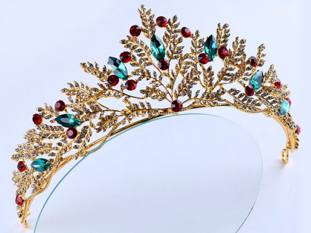 Copper Crystal Flower Big Pearl Wedding Bridal Party Pageant Prom Tiara Crown